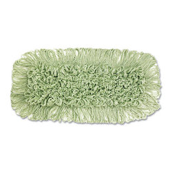 UNISAN - ECHOMOP LOOP END DUST MOP 36X5 CTTN/SYN GRE 1 - First mop head made from recycled PET plastic bottles. Contributes to reduced landfill waste, energy consumption and impact on greenhouse gases. Backing material is 100% recycled PET. High quality EarthSpun® fibers are manufactured from 30% post-consumer recycled PET plastic bottles. 97% total recovered content. Non-heat set looped-end style meets the most demanding dust mopping needs. (Also available in heat set cut-end style). Standard slot pocket construction. 12 dust mops per case.. . . . . 5 x 36. . . Echo Dust Mop. Dimensions: Height: 1, Length: 2.5, Width: 1. Country of Origin: US   CAT: Mops, Brooms & Brushes Mops & Equipment Loop Mop Heads
