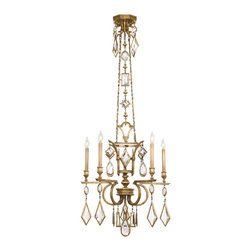 Fine Art Lamps - Fine Art Lamps 719540-3ST Encased Gems Bronze Clear Crystal 5 Light Chandelier - 5 Bulbs, Bulb Type: 60 Watt Candelabra; Weight: 35lbs
