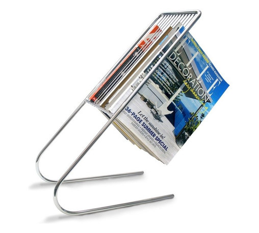 J-Me - Float Magazine Rack - Free up some space on your coffee table with this remarkable magazine rack. Instead of stacking copies, slide them into the angled slats, also allowing you to quickly retrieve an issue. What goes on that free table space? Your feet.