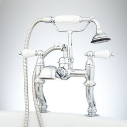 Glenwood Deck-Mount Tub Faucet with Variable Couplers - This beautiful English faucet features hot and cold porcelain lever handles and adjustable centers for maximum flexibility.