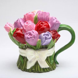 CG - 8 ounce Ceramic Multi-colored Tulip Bouquet Teapot with White Bow - This gorgeous 8 ounce Ceramic Multi-colored Tulip Bouquet Teapot with White Bow has the finest details and highest quality you will find anywhere! 8 ounce Ceramic Multi-colored Tulip Bouquet Teapot with White Bow is truly remarkable.