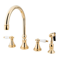 Kingston Brass - 8in. Deck Mount Kitchen Faucet with Brass Sprayer - Inspired by 18th Century elegance, this faucet is the ideal choice for those wishing to create a luxuriant look for their kitchen. The faucet has a double handle deck mount setup and features a 8-16in. design. The body is fabricated from solid brass for durability and long-lasting use. The color finish is made of polished brass for that golden reflective shine, as well as resisting scratches, corrosion and tarnishing. The spout rotates 360 degrees for accessibility and convenience. The handle acts as a 1/4-turn on/off water control mechanism for easy management of water volume and temperature. The faucet operates with a ceramic disc valve for droplet-free functionality with the water measured 2.2 GPM (8.3 LPM) and a 60 PSI maximum rate. An integrated removable aerator is inserted beneath the spout's head piece for conserving water flow. A 10-year limited warranty is provided to the original consumer. Brass sprayer included.