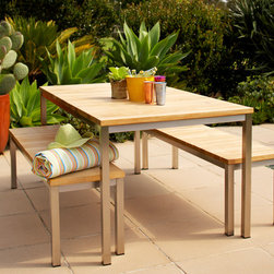 Outdoor Furniture Collection - Arno dining table and bench seats in wire brushed teak and Stainless steel frame