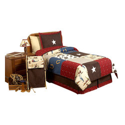 Sweet Jojo Designs - Wild West Children's Bedding Set Twin 4-Piece - The Wild West Children's Bedding set will help you create an incredible room for your child. This western themed boy bedding set combines Jojo exclusive cowboy print, cow print, red bandanna print, plaid, denim, and micro suede in a patchwork construction. The detailed embroidered horseshoes and sheriff stars finish the look perfectly. This collection uses the stylish colors of Red, Chocolate Brown, Camel, Blue and Gold.