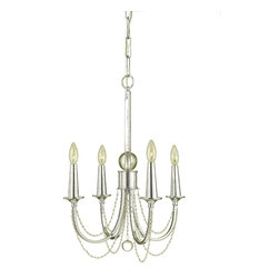Candice Olson - Shelby Hollywood Regency Crystal Bead 4 Light Chandelier - Perfectly bridging the Hollywood Regency and Mid-century styles, this chrome and beaded beauty has good looks and great lighting written all over it. Four candle bulbs light the way to a classic look.