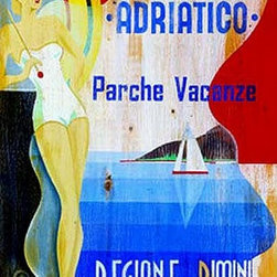 Red Horse Signs - Vintage Beach Signs attolica Adriatico Cruise - Capture  the  styling  of  the  1930's  with  Cattolica  Cruise.  Printed  directly  to  distressed  wood  for  a  vintage  look  this  brightly  colored  design  revisits  the  days  of  luxury  and  adventure.  Measures  20x32  inches.