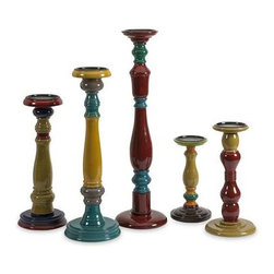 Jasper Wood Candleholders - Set of 5 - With varying shapes and turned wood styles, this bold, eclectic collection of five candleholders each has a unique colorful finish in globally inspire jewel tones. Holds pillar candles.