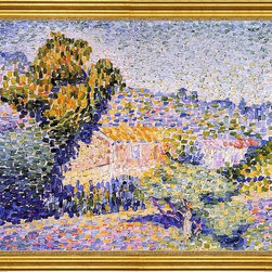 """Henri Edmond Cross-16""""x20"""" Framed Canvas - 16"""" x 20"""" Henri Edmond Cross The Pink House framed premium canvas print reproduced to meet museum quality standards. Our museum quality canvas prints are produced using high-precision print technology for a more accurate reproduction printed on high quality canvas with fade-resistant, archival inks. Our progressive business model allows us to offer works of art to you at the best wholesale pricing, significantly less than art gallery prices, affordable to all. This artwork is hand stretched onto wooden stretcher bars, then mounted into our 3"""" wide gold finish frame with black panel by one of our expert framers. Our framed canvas print comes with hardware, ready to hang on your wall.  We present a comprehensive collection of exceptional canvas art reproductions by Henri Edmond Cross."""