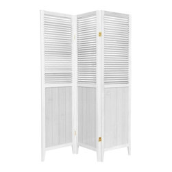 Oriental Furniture - 5.25 ft. Tall Beadboard Divider, White, 3 Panel - An attractive, well-crafted room divider, perfect where a simple, contemporary look is preferred. The beadboard on the bottom gives a French country feel while the venetian blind style at the top allows air and light to pass through the off set slats.