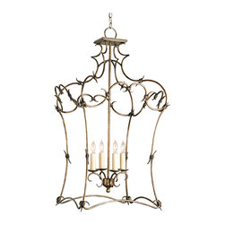 "Kathy Kuo Home - Morena Neo Baroque ""Barbed Wire"" 4 Light Open Lantern Pendant - Dangerous curves and a thorny, barbed effect make this romantic lantern-framed chandelier a fairy tale fixture with an edge. A pyrite bronze finish creates an a polished look."