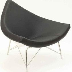 Modway - Chinese Hat Chair In Genuine Black Leather - Eei-590-Blk - Mid-century classic piece