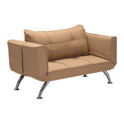 Zuo Modern Contemporary, Inc. - Tranquility Sleeper Settee Wheat - This is fun and functional modern twist on the classic settee.  The Tranquilty Sette turns into a twin sized sleeper with adjustable armrests.  It is wapped in a beautiful polyblend.