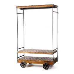 Almira Rolling Garment Rack - The Almira Rolling Garment Rack boasts three levels of honey colored mango wood display on top of a sturdy steel frame and wheels, plus a generous space for hanging garments.