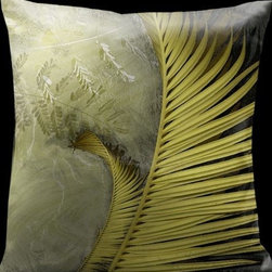 Lama Kasso - Impressions Tropical Greens with Black Accents 18 x 18 Satin Pillow - -Satin Lama Kasso - 1260