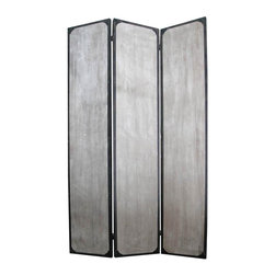 Screen Gems - Industrial 3-Panel Privacy Screen Divider - This is a 3 panel industrial style screen. The rustic, distressed finish features metal accents. A unique look that's sure to bump your style up a notch. 47 in. W x 71 in. H (65 lbs.)