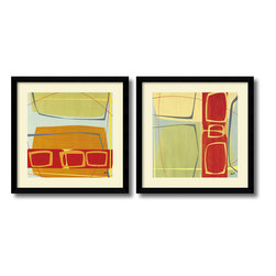 Amanti Art - Danielle Hafod 'Concentric- set of 2' Framed Art Print 33 x 33-inch Each - Bring a little abstract chic into your decor! The contemporary framed art of the Concentric set by Danielle Hafod offers up geometric poetry of dynamic shape and tone.
