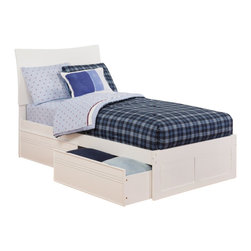 Atlantic Furniture - Atlantic Furniture Soho Bed with Drawers in White-Twin Size - Atlantic Furniture - Beds - AR9122112