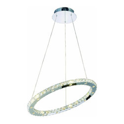 """Elegant Lighting - Elegant Lighting 2065D24C/RC Atom 24-Light Chandeliers in Chrome - 2065 Atom Collection Hanging Fixture D24"""" H1.5in Chrome Finish (Royal Cut Crystals)"""