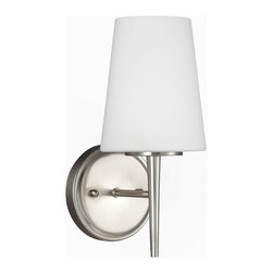 Sea Gull Lighting - Sea Gull Lighting 4140401-962 Driscoll 1 Light Bathroom Vanity Lights in Brushed - Driscoll One Light Wall / Bath Sconce in Brushed Nickel with Etched Glass Painted White Inside