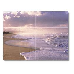 Picture-Tiles, LLC - Beach Scene Mural Tile B040 - * MURAL SIZE: 12.75x17 inch tile mural using (12) 4.25x4.25 ceramic tiles-satin finish.