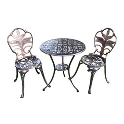 Pier Surplus - Antiqued Bronze Bistro Set - Table and Two Chairs for Yard, 3 Pieces  #PB11123 - Imagine a hot, lazy afternoon enjoying appetizers and cocktails with a friend under an umbrella in the back yard... This bistro set makes it easy to experience that any time! Made from cast iron, this bistro table comes with two chairs that have been ornately decorated with a stylish leaf motif. From the back splat to the cabriole-inspired legs, this theme is carried throughout. Perfect for patios all year round.