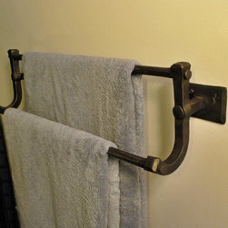 Forged Towel Bar - This towel rack is completely hand forged. The bars are hot punched and riveted using traditional joinery. It is available in numerous finishes.