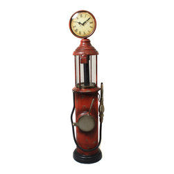 ecWorld - Urban Designs Weathered Handcrafted Retro Gas Pump Decorative Clock - Shaped like a Route 66 antique gas pump, this clock is a fun idea to uplift your home theater, game room or special office corner. Free standing floor design, showcases a hose and a nozzle, roman numerals and a circular housing that brings back fun times in style. Ideal for someone that appreciates unique decor.