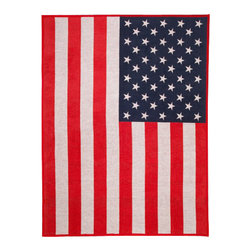 """ChappyWrap - American Flag patterned blanket - ChappyWraps are produced by expert craftsmen using only the finest materials with a signature cotton blend jacquard weave created to last a lifetime. These irresistibly soft blankets are perfect for a cool day on the boat, a fall soccer game, snuggling in bed or sitting by a fire. ChappyWraps are 60% cotton to provide extra fluffiness, 33% acrylic and 7% polyester to prevent shrinkage and pilling, 60"""" x 80"""" to cover you from head to toe, reversible, machine washable and extremely durable. Wash them and they keep their fluffy feel coming out of the laundry like new, year after year."""