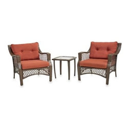 Ace Evert Inc. - 3-Piece Wicker Chair Sets - A lovely addition to a stylish outdoor seating area, this lounge set includes two cushioned wicker chairs and a steel accent table with a glass top.
