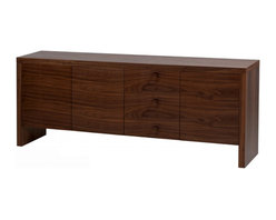 """White Line Imports - Gio Walnut Buffet - Simple, capacious and modern, the Gio Walnut Buffet by White Line Imports will bring a new meaning of style and comfort into your dining room. The buffet has sturdy construction finished in Walnut Veneer, 3/8"""" frosted glass shelves and touch latch doors."""
