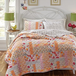 Kate Spain - Kate Spain Daydream Quilt Set - 2H7866Q4OG - Shop for Bedding Sets from Hayneedle.com! Create a space for daydreaming with the Kate Spain Daydream Quilt Set. This quilted ensemble weaves a patchwork of exotic flowers hummingbirds and geometric motifs in pink rose orange and dove gray. It reverses to a dove gray and white swirl design. This luxurious quilt and sham set is made of 100% cotton and is conveniently machine-washable. Choose from available size options.Product dimensions:Twin: 86L x 68W in.Full/Queen: 90L x 90W in.King: 108L x 90W in.About KD SpainKD Spain is the namesake business of designer Kate D. Spain. This business was started in 2008. Kate Spain is based in Connecticut and is a surface designer who creates original vibrant and exuberant art that will make a statement in your home. She is a graduate of the Rhode Island School of Design and has been in the design and product development field for over 20 years. She has an extensive background in licensing and a passion for art and design. Kate currently licenses her original drawings patterns and photographs to high-quality manufactures. Her design collections aspire to bring the vitality of the outdoors into the home to enrich and enliven your space.