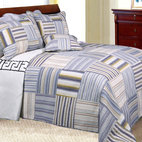 None - Kevin Striped Patchwork Quilt Set - Alternating vertical and horizontal stripes in hues of light blue, brown and white create a patchwork effect on this Kevin quilt set. This quilt set is made of pre-washed and pre-shrunk cotton.