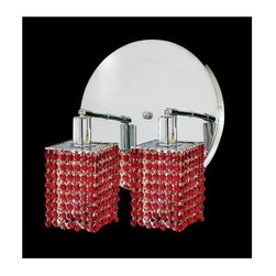 Elegant Lighting - Mini Bordeaux Crystal Sconce w 2 Lights in Chrome (Strass Swarovski) - Choose Crystal: Strass Swarovski. Bulbs not included. Crystal Color: Bordeaux (Red). Chrome finish. Number of Bulbs: 2. Bulb Type: GU10. Bulb Wattage: 55. Max Wattage: 110. Voltage: 110V-125V. Assembly required. Meets UL & ULC Standards: Yes. 9 in. D x 13.5 in. H (6lbs.)Description of Crystal trim:Royal Cut, a combination of high quality lead free machine cut and machine polished crystals & full-lead machined-cut crystals..SPECTRA Swarovski, this breed of crystal offers maximum optical quality and radiance. Machined cut and polished, a Swarovski technician¢s strict production demands are applied to this lead free, high quality crystal.Strass Swarovski is an exercise in technical perfection, Swarovski ELEMENTS crystal meets all standards of perfection. It is original, flawless and brilliant, possessing lead oxide in excess of 39%. Made in Austria, each facet is perfectly cut and polished by machine to maintain optical purity and consistency. An invisible coating is applied at the end of the process to make the crystal easier to clean. While available in clear it can be specially ordered in a variety of colors.Not all trims are available on all models.