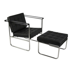 Fine Mod Imports - Celona Chair and Ottoman Set in Black Leather - Features: