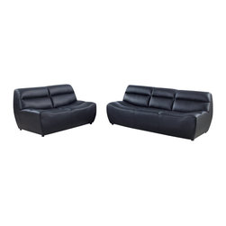 Global Furniture - U3730 Black Bonded Leather Three Piece Sofa Set - The U3730 sofa set will add a stylish modern look to any decor it's placed in. This sofa set comes upholstered in a beautiful black bonded leather in the front where your body touches. Skillfully chosen match material is used on the back and sides where contact is minimal. High density foam is placed within the cushions for added comfort. Each piece has a smooth curved design that makes this sofa set stand out amongst the others. The price shown includes a sofa, loveseat, and chair only.