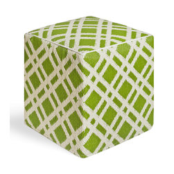 Fab Habitat - Dublin - Green Cube - Sleek and eco-chic, this cube is the perfect modern piece for your living room or office. Hand crafted by artisans from recycled materials, this easy to clean cube comes in a sophisticated geometric pattern in your choice of colors.