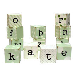 "New Arrivals Inc. - Green Block Letters - The Green Block Letters by New Arrivals Inc. are hand-painted and perfect for spelling out your child's name or favorite phrase. The Blocks are 2"" square and are distressed on the edges. Each letter has its own unique pattern."