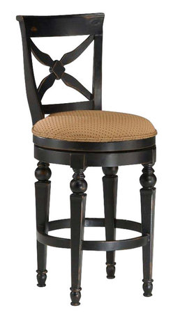 Hillsdale Furniture - Hillsdale Northern Heights Swivel Counter Stool in Black and Honey - The Northern heights swivel stools are graced with sophisticated French country inspired carved legs and accented with a versatile fabric seat. The backs have a criss-Cross-Cross design that will enhance any formal or casual decor.