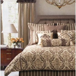 Jennifer Taylor Broderick Comforter/Duvet Set - The Jennifer Taylor Broderick Comforter/Duvet Set matches bold-scaled chenille brocade with decadent chocolate and gold colors for the perfect blend of masculine and feminine. Strong stripes, embroidered diamonds, and rich faux silks provide contrasting colors and textures. This luxurious bedding collection comes in several size options, each with a variety of coordinating pillow shams finished with luxurious trims and ornate embroidery detailing for a distinguished look.Additional Details10-piece set: 1 comforter/duvet: 110 x 96 inches1 bed skirt: 78 x 80 inches (18-inch depth)3 Euro shams: 26 x 26 inches2 kings shams: 21 x 37 inches3 décor pillows9-piece set: 1 comforter: 93 x 96 inches1 bed skirt: 60 x 80 inches (18-inch depth)2 Euro shams: 26 x 26 inches2 standard shams: 20 x 27 inches3 décor shams4-piece set: 1 comforter: 104 x 96 inches1 bed skirt: 60 x 80 inches (18-inch depth)2 king shams: 21 x 37 inchesAbout ACG Green Group, Inc.ACG Green Group is a home furnishing company based in Irvine, California and is a proud industry partner with the American Society of Interior Designers. ACG Green features Jennifer Taylor and Sandy Wilson, their exclusive home décor lines. These two complete collections offer designer home furniture, bedding sets, dining linens, curtains, pillows, and more in classic silhouettes, original designs, and rich colors to complement your home and life.