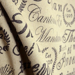 Micro - Tea House Black Script Upholstery Fabric - Pattern Tea House in the color Black is a awesome script upholstery weight fabric. 55% Linen and 45% Viscose this fabric is durable and also can be used for bedding, pillows and window treatments.