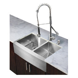 Vigo Industries - Kitchen Sink and Chrome Faucet Set - Includes soap dispenser, matching bottom grid, sink strainer, all mounting hardware for faucet and hot-cold waterlines