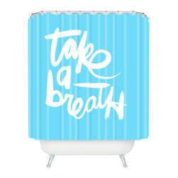 DENY Designs - Kal Barteski Take Blue Shower Curtain - Who says bathrooms can't be fun? To get the most bang for your buck, start with an artistic, inventive shower curtain. We've got endless options that will really make your bathroom pop. Heck, your guests may start spending a little extra time in there because of it!