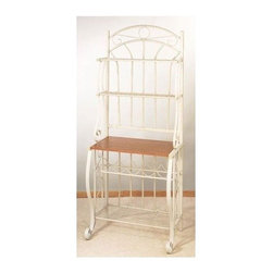 """Old Dutch - Baker's Rack - Organize your kitchen with this elegant baker's rack. It's perfect for displaying your favorite dishes and cookbooks, and is also ideal for storing a microwave or small television. The baker's rack also features a convenient wine rack. Features: -Ventilated metal accessory shelves.-Five bottle wine rack.-Large particle board shelf with attractive wood finish.-Collection: Wyndham Road.-Hardware Finish (Finish: Pewter): Black.-Hardware Finish (Finish: Linen White): Brass screws, white end caps.-Hardware Finish (Finish: Forest Green): Black.-Hardware Finish (Finish: Copper): Black.-Distressed: No.-Powder Coated Finish: Yes.-Frame Material: Steel.-Hardware Material: Steel screws, plastic end caps.-Rust Resistant: No.-Fade Resistant: Yes.-Scratch Resistant: No.-Tarnish Resistant: Yes.-Stain Resistant: No.-Adjustable Shelves: No.-Removable Serving Tray: No.-Wine Glass Storage: No.-Foldable: No.-Outdoor Use: No.-Swatch Available: No.-Commercial Use: No.-Recycled Content: No.-Eco-Friendly: No.-Product Care: Wipe clean with warm damp cloth and hand dry clean.Dimensions: -Overall Height - Top to Bottom: 68"""".-Overall Width - Side to Side: 27.25"""".-Overall Depth - Front to Back: 16"""".-Shelf Height (Second Shelf) : 12"""".-Shelf Height (Third Shelf) : 15"""".-Shelf Height (Wine Rack) : 8"""".-Shelf Height (Bottom Shelf) : 15"""".-Shelf Width - Side to Side: 25.25"""".-Shelf Depth - Front to Back (Top Shelf) : 8"""".-Shelf Depth - Front to Back (Second Shelf) : 8"""".-Shelf Depth - Front to Back (Third Shelf) : 15"""".-Shelf Depth - Front to Back (Bottom Shelf) : 11"""".-Clearance from Floor to Bottom Shelf: 5.25"""".-Overall Product Weight: 33 lbs.Assembly: -Assembly Required: Yes.-Tools Needed: Screw driver, allen key.-Additional Parts Required: No."""