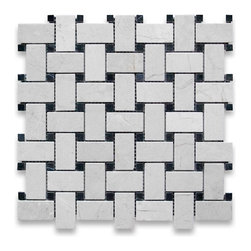 "Stone Center Corp - Crema Marfil Basketweave Mosaic Tile Black Dots 1x2 Polished - Crema Marfil Marble 1"" x 2"" rectangle pieces and 3/8"" dots mounted on 12"" x 12"" sturdy mesh tile sheet"