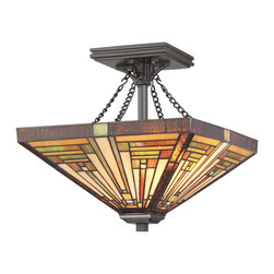 Quoizel - Quoizel Vintage Bronze Semi-Flush Mts. - SKU: TF885SVB - This handcrafted Tiffany style collection illuminates your home with warm shades of amber, bisque and earthy green, arranged in a clean and simple geometric pattern reminiscent of the works of Frank Lloyd Wright. The sturdy base complements the Arts & Crafts style, and is finished in a Vintage Bronze.