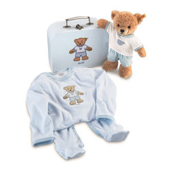 Steiff - Steiff Sleep Well Teddy Bear Gift Set in Suitcase - Perfect gift for a baby boy!  Steiff Sleep Well Teddy Bear Gift Set in Suitcase includes a teddy bear made of plush for baby-soft skin. The teddy bear is machine washable. Steiff Sleep Well Teddy Bear Gift Set in Suitcase includes an outfit made of 100% cotton.