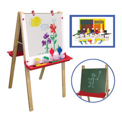"Ecr4kids - Ecr4Kids Kids Hardwood Adjustable Wooden Floor Easel With Small Paint Crate Set - Set includes a 3-in-1 Children's Hardwood Adjustable Floor Easel and a 27 Pc with chalkboard on one side and dry-erase board on the other side and ""Learn Your Colors"" Collapsible Paint Crate Set."