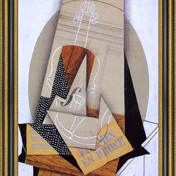 """Art MegaMart - Juan Gris Composition with Violin - 16"""" x 24"""" Framed Premium Canvas Print - 16"""" x 24"""" Juan Gris Composition with Violin framed premium canvas print reproduced to meet museum quality standards. Our Museum quality canvas prints are produced using high-precision print technology for a more accurate reproduction printed on high quality canvas with fade-resistant, archival inks. Our progressive business model allows us to offer works of art to you at the best wholesale pricing, significantly less than art gallery prices, affordable to all. This artwork is hand stretched onto wooden stretcher bars, then mounted into our 3 3/4"""" wide gold finish frame with black panel by one of our expert framers. Our framed canvas print comes with hardware, ready to hang on your wall.  We present a comprehensive collection of exceptional canvas art reproductions by Juan Gris."""