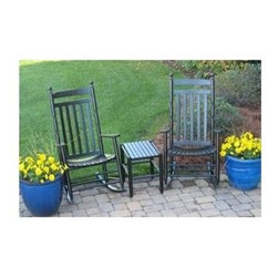 Dixie Seating - Set of 2 Rocking Chairs w Table - Pictured in Black. Solid wood. Fully Assembled. Made in the USA. Underside is unsanded