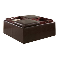 Coaster - Storage Ottoman (Dark Brown) By Coaster - This large square storage ottoman will add a touch of comfort to your contemporary living room or family room. The sleek piece has a plush top cushion that offers a cozy spot to rest your feet, with four lift top segments that reverse to removable trays. Gather around, entertaining friends and family and enjoying snacks and drinks. A spacious enclosed storage area below is great for hiding clutter, with plenty of space for blankets, pillows, and magazines. The smooth base creates a clean look, al covered in the same rich dark brown faux leather. Create a warm and inviting look in your sophisticated home, with this stunning storage ottoman. This group of stylish ottomans offers a functional option for every home. In different shapes, sizes, styles, and fabrics, these ottomans will create a comfortable place to rest your feet, or a cozy extra seat. Convenient storage features and tray tops make for great entertaining, while plush upholstery adds to the sophisticated look of each ottoman. For a simple and stylish completion to your living room, family room, or hallway, add one of these elegant ottomans. Features: Dark Brown Leather-like Vinyl Upholstery Storage Compartment 4 Wood Trays.